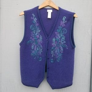 Koret | Embroidered Floral Button Down Wool Vest